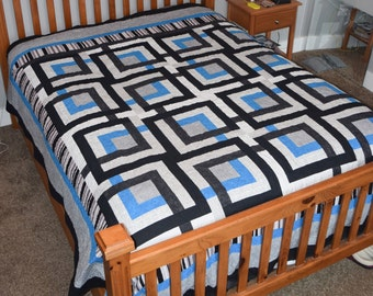 Queen Sized Geometric Modern Blue Black and White Handmade Machine Quilted Quilt