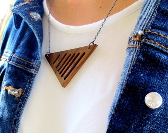 Triangle Necklace, Geometric Necklace, Wood Necklace, Minimalist Necklace, Statement Necklace, Modern Necklace