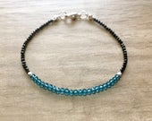 Neon Blue Apatite and Black Spinel Bracelet  Apatite Birthstone  Stacking Bracelet  Black Spinel Bracelet