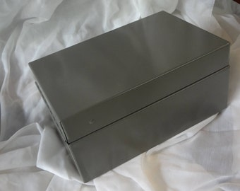 Vintage Gray Metal Card File Box for 3'' x 5'' File Cards
