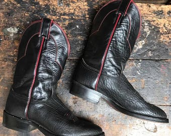 Vintage Justin Western Boots Vtg Black Red Leather Cowboy Boots Made in USA Men's Size 9