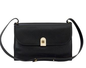 Vintage Christian Dior brown leather shoulder bag