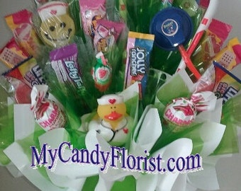 MEDICAL Candy Bouquet CNA, RN, Nurse, Dr., Pharmacist, LpN - Great for a Gift, Get Well, Graduate -Includes a Syringe Ink Pen & few Med Toys