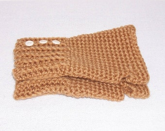 Tan Fingerless Gloves, Light Brown Hand Crochet Fingerless Gloves, Hand Warmers, Women's Girls Texting Gloves, Light Tan Gloves With Buttons