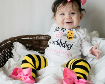 Bumble Bee Half Birthday Outfit Yellow Black Stripes 6 Months