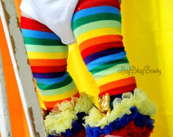 Rainbow Leg Warmers Chiffon Gold Sequin Bows St. Patrick's day Birthday