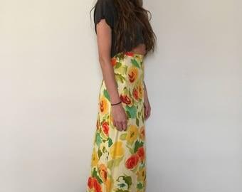 Vintage Floral High Waisted Maxi Skirt