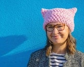 Crocheted Pussy Cat Hat in Pink