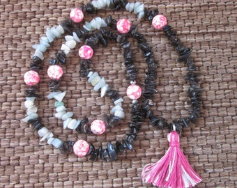 Beaded tassel necklace pink stone pink & white tassel necklace black obsidian stone chips amazonite stone chips bohemian necklace 28 inch