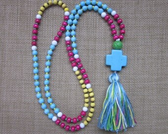 long beaded tassel necklace yellow pink wood beads white jade blue turquoise jewelry bohemian color block beaded necklace cross tassel mala