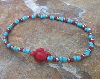 red & turquoise  beaded anklet stone sea turtle jewelry bohemian stretch ankle bracelet yoga surfer mens women's anklet / ankle bracelet