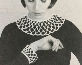 Learn to crochet pattern, collars and cuffs crochet pattern, vintage 1970s crochet pattern, 3 variations