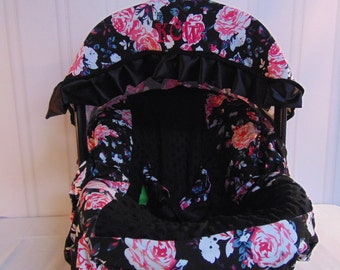 Infant Car Seat Cover,Baby Carseat Canopy, Optional Monograming, Girls Car Seat Cover, Includes Matching Strap Cover
