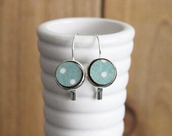 Hook Earrings - Fabric Covered Wood Earrings - Polka Dot Earrings - French Earwire Earrings - Dangle Earrings - Drop Earrings - Wood Jewelry