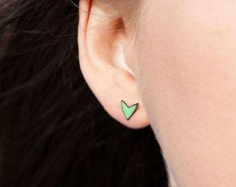Green stud earrings - green enamel earrings - spring green studs - copper jewellery - bright green studs - copper enamel earstuds