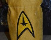 Dice Bag Star Trek Logo Gold Shirt Embroidery Gold Suede