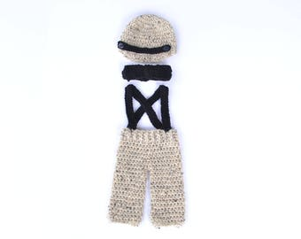 Handmade crochet baby little man set; baby boy; brimmed hat; newsboy hat; pants and suspenders; bow tie; photography prop; baby shower gift
