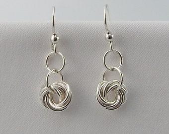 Sterling Silver Earrings, Dangle Earrings, Sterling Silver Chainmail Earrings, Rosette Earrings, Sterling Silver Jewelry