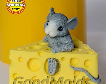 Mouse in cheese 3D mold Food grade mold silicone molds mold for soap mold animal mold silicone mold Free shipping