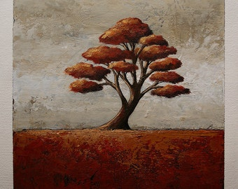 Tree painting, tree of life, autumn tree, orange red, small original acrylic painting on canvas, 6 x 6 inches painting within a 11x14 mount