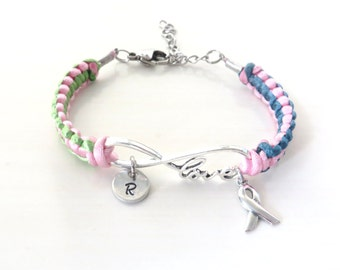 Metastatic Breast Cancer LOVE Charm Bracelet You Choose Optional Letter Charm