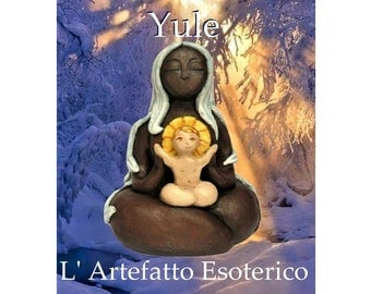 Mother Goddess of Yule with baby Sun God