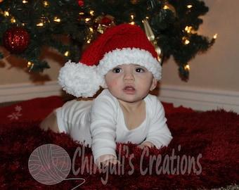 Crochet Santa Hat Red Santa Hat Newborn Christmas Hat sleepy Hat Baby Santa Hat Elf Hat Newborn Baby Santa Hat Baby Elf hat