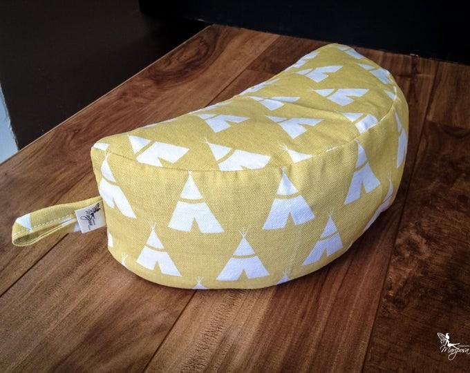 Moon Crescent Meditation Pillow Yellow Tipi Travel buckwheat cushion Half Zafu by Creations Mariposa