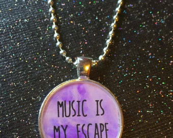 Music is My Escape Necklace | Music Pendant Music Lover Gift | Pastel Grunge Pastel Goth Creepy Cute Alternative Gothic Jewelry Cute Gift
