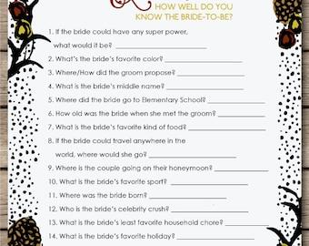 Woodland Bridal Quiz