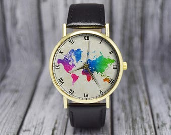 Colorful World Map Watch | Travel Gift | Cartography | Leather Watch | Ladies Watch | Men's Watch | Birthday | Gift Ideas | Accessories