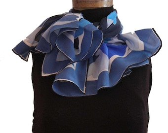 Hand painted crêpe de chine silk scarf