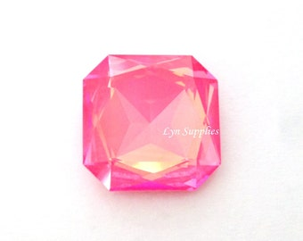4675 ULTRA PINK CORAL 23mm Swarovski Crystal Faceted Square Octagon Fancy Stone, Hot Pink Pendant