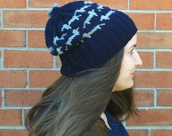 Navy Blue and Grey Slouchy Dachshund Hat