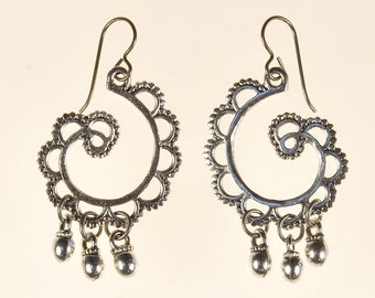 Antique Silver Swirl Drop Earrings Spring Summer Jewelry Birthday Gift for Her Boho Trendy Tribal Rustic Artisan Long Dangle Earrings