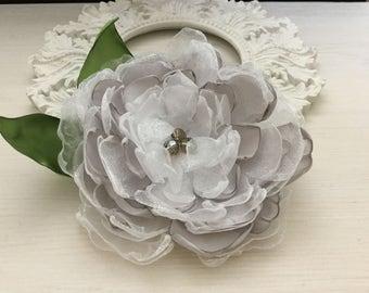 Large Satin Organza Flower Brooch/Hair Pin