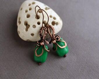 Copper earrings Wire wrapped earrings Green Stone bead Earrings Dangle Wire  earrings Simple Rustic style Green Jade jewelry Unique gift