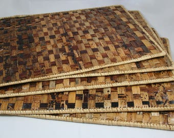 4 Wooden fiber hand-woven table placemats