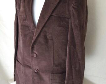 Vintage 70s Levi's Menswear Sueded Blazer Brown Jacket Sports Coat