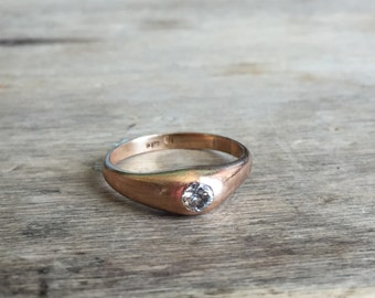Antique 18ct rose gold .25 diamond ring larger size 11, early 1900s