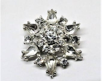 Rhinestone Brooch - Vintage, Silver Tone Metal, Faceted Clear Rhinestones, Pin