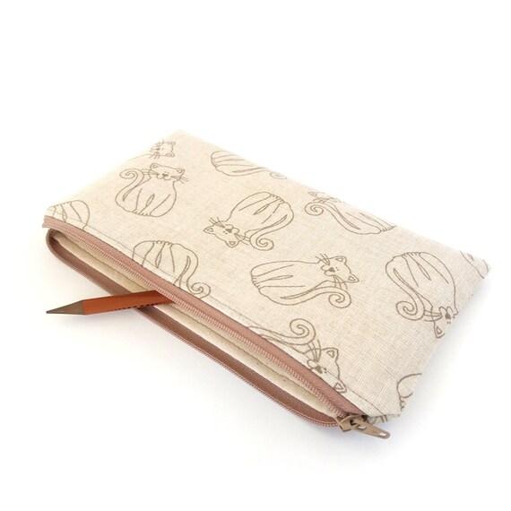 Cat pencil case, Cute pencil bag, Kittens zipper pouch, Small travel wallet, Cute purse wallet, Zip makeup pouch, Cats pouch, Girl gift