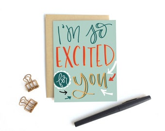 Card - I'm So Excited For You | Congratulations Card, Wedding Card, Graduation, Baby, New Job, New Home Card , Milestone Card