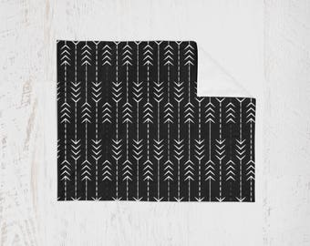 Organic Swaddle Blanket Black Arrow MudCloth. Lightweight Baby Blanket. Receiving Blanket. Baby Swaddle. Aztec Swaddle. Nursing Cover.