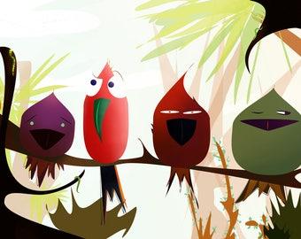 Tropical Birds Relaxing - Print