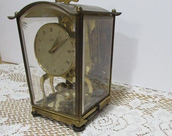 Schatz Lantern Style Anniversary Clock ~ 400 Day Clock ~ Model 53 ~ Etched Glass ~ Collectible Germany Clock ~ 2 Jewels ~Brass Mantel Clock