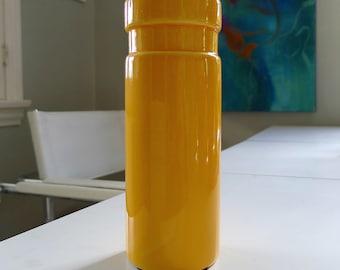 Bright Yellow Orange Mod Pottery Vase, Mid Century Modern, Space Age MCM decor