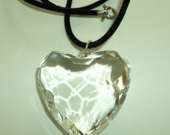 Huge Clear, Lucite plastic Puffy Heart Choker