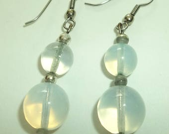 Vintage Clear Lucite ORB Style ( Greenish Hue ) Ball Bead Dangling Earrings.