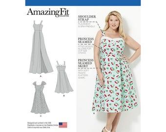 Simplicity 8096 Amazing Fit Plus size dresses GG(26W 28W 30W 32W)